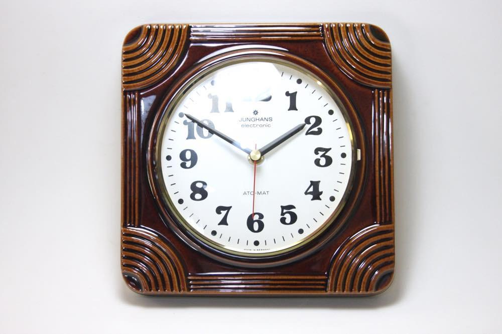 画像1: ビンテージ陶製壁掛け時計/Junghans製/ユンハンス/ドイツ/ブラウン (1)