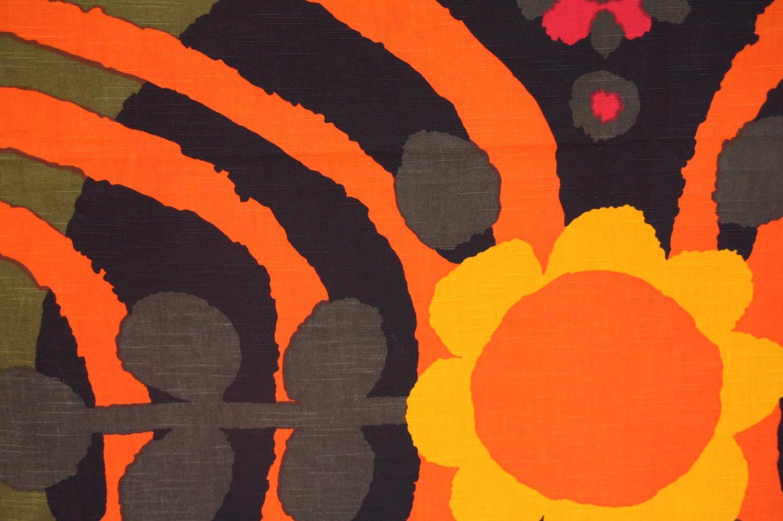 画像1: 北欧ビンテージファブリック/スウェーデン/ヴィンテージファブリック/BORAS /ボロス/ボラス社製 /Parabeli/Saini Salonen/オレンジ/200cm (1)