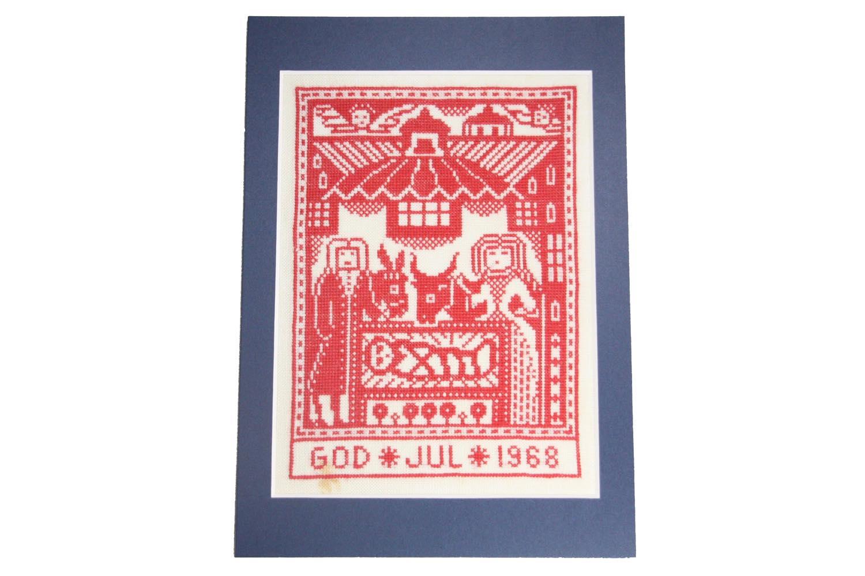 画像1: クリスマス北欧雑貨/スウェーデン/クリスマスクロスステッチ/ハンドメイド/1968年 (1)