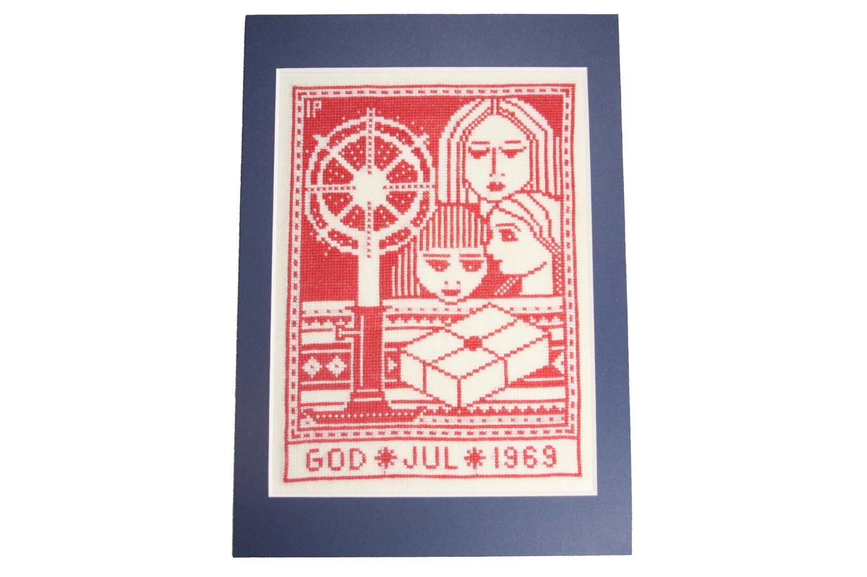 画像1: クリスマス北欧雑貨/スウェーデン/クリスマスクロスステッチ/ハンドメイド/1969年 (1)