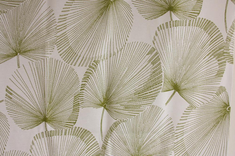 画像1: 北欧ヴィンテージテキスタイル グリーン植物柄  (1)