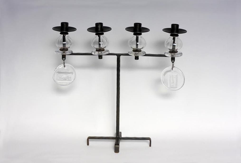 画像1: Erik Hoglundエリックホグラン BODA社製 ガラスキャンドスタンド クリア4連 (1)
