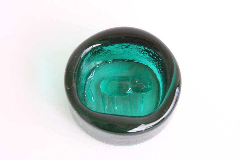 画像1: ErikHoglundエリックホグラン  ガラス ネコ アシュトレイ グリーン (1)