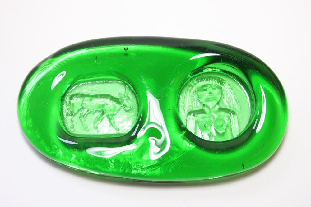 画像1: ErikHoglund/エリックホグラン/ガラス/貴重ダブルアッシュトレー/グリーン (1)