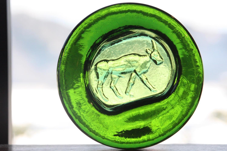 画像1: 北欧ビンテージ雑貨/Erik Hoglund/エリックホグラン/BODA社製/ガラスアッシュトレイ/バッファロー/グリーン/Lサイズ (1)