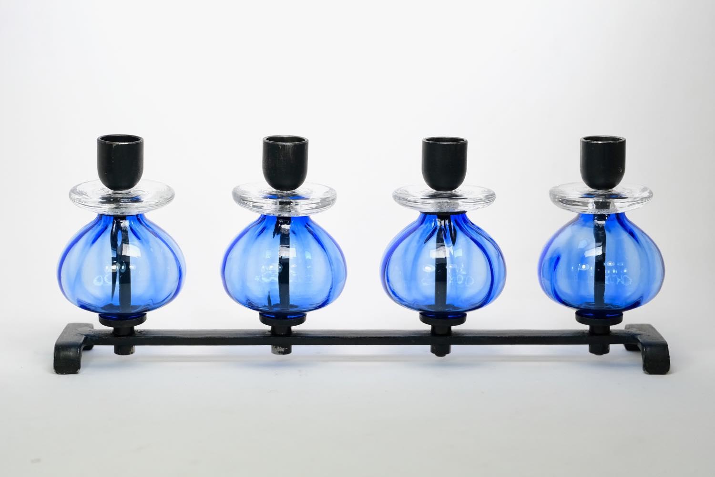 画像1: Erik Hoglund/エリックホグラン/BODA社製/ガラスキャンドルホルダー/4連ブルー (1)