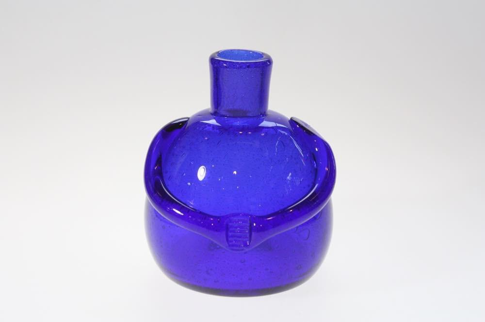 画像1: Erik Hoglund/エリックホグラン/ガラス/ひとがたボトル/ブルー/気泡入 (1)