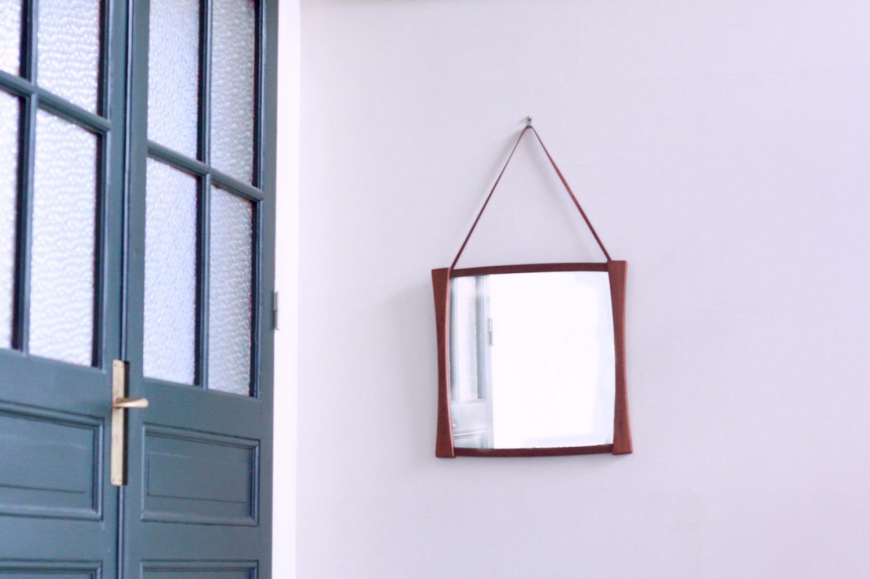 画像1: デンマーク製/ビンテージミラー/G&T inr varumärke/チークフレーム✕革/新品鏡 (1)