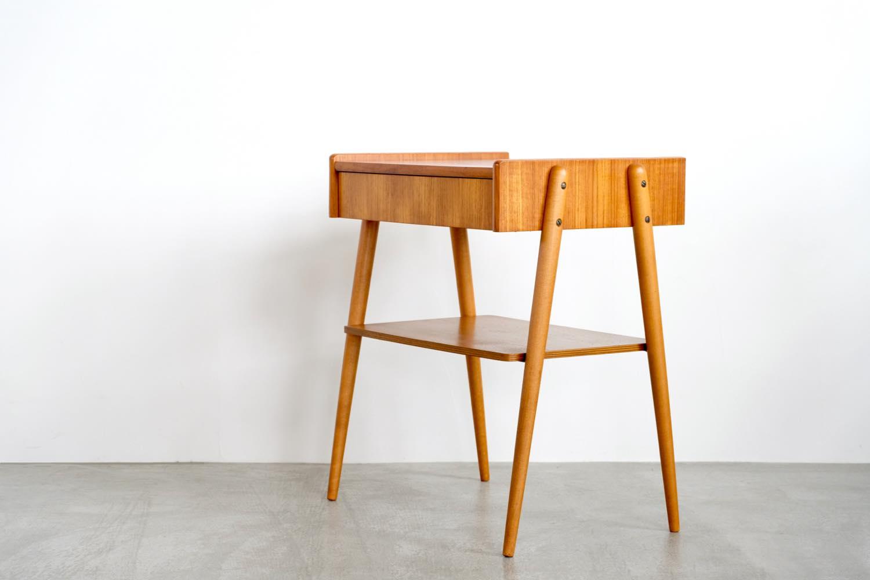 画像1: 北欧ビンテージ家具/スウェーデン/チーク×ビーチ/ベッドサイドテーブル (1)