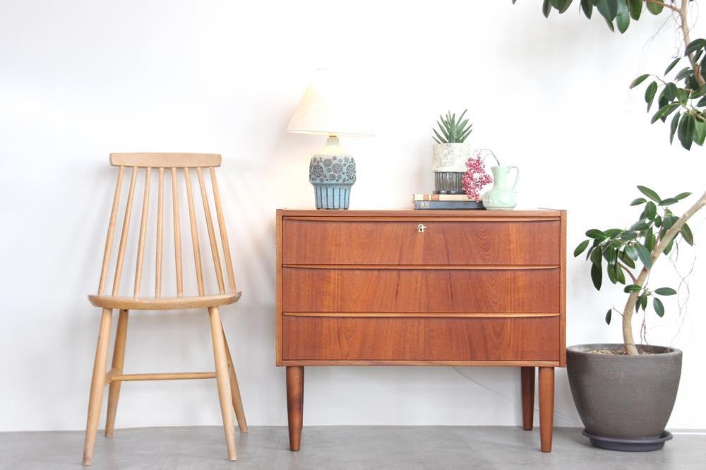 画像1: ビンテージ北欧家具/デンマーク製/チェスト/チーク3段  (1)