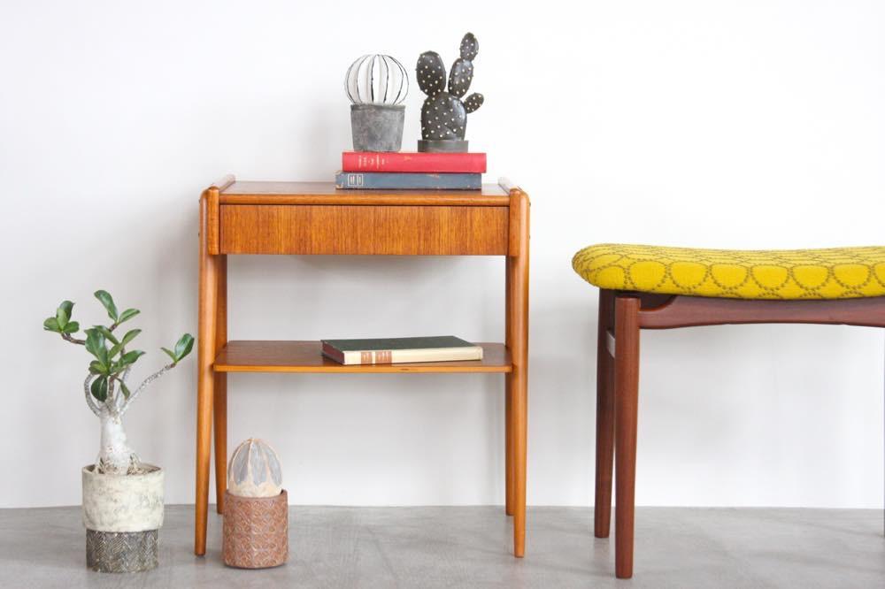 画像1: ビンテージ北欧家具/スウェーデン/チーク×ビーチ/ベッドサイドテーブル (1)