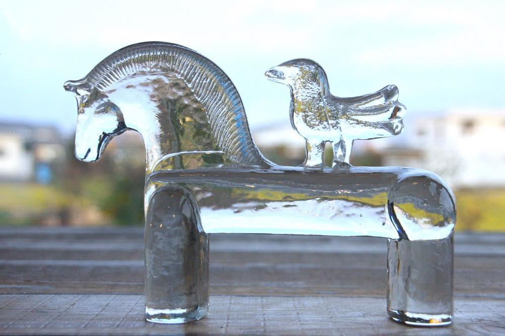 画像1: Kosta Boda/コスタボダ/ガラスのオブジェ ポニー&小鳥 (1)