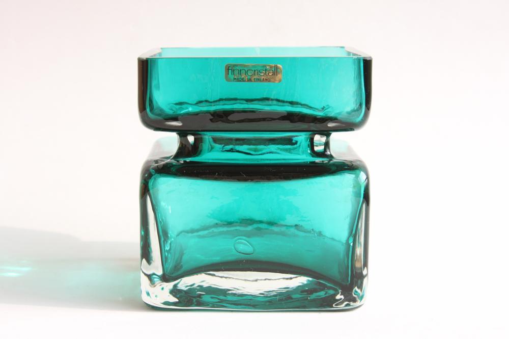 画像1: 北欧雑貨 Riihimaen Lasi Palaシリーズ 花瓶 ブルーグリーン Lサイズ (1)