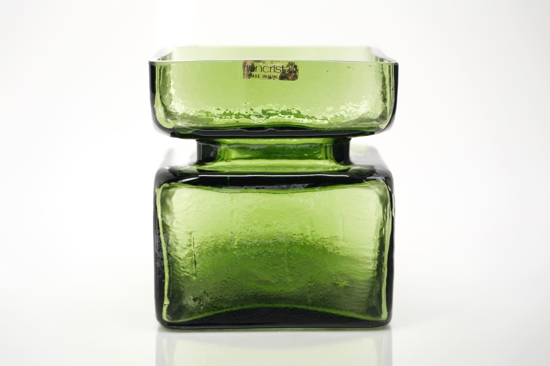 画像1: 北欧ビンテージ雑貨/Riihimaen Lasi/Pala/ベース/花瓶/Lサイズ/オリーブグリーン (1)