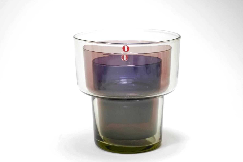 画像1: 北欧ビンテージガラス/Lisa Johansson Pape/リサヨハンソンパッペ/Viola/ビオラ/トリプルベース/クリア&ブルー&ピンク (1)