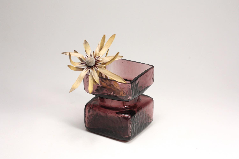 画像1: ビンテージ北欧雑貨/Riihimaen Lasi/Pala/花瓶/パープル/XSサイズ  (1)