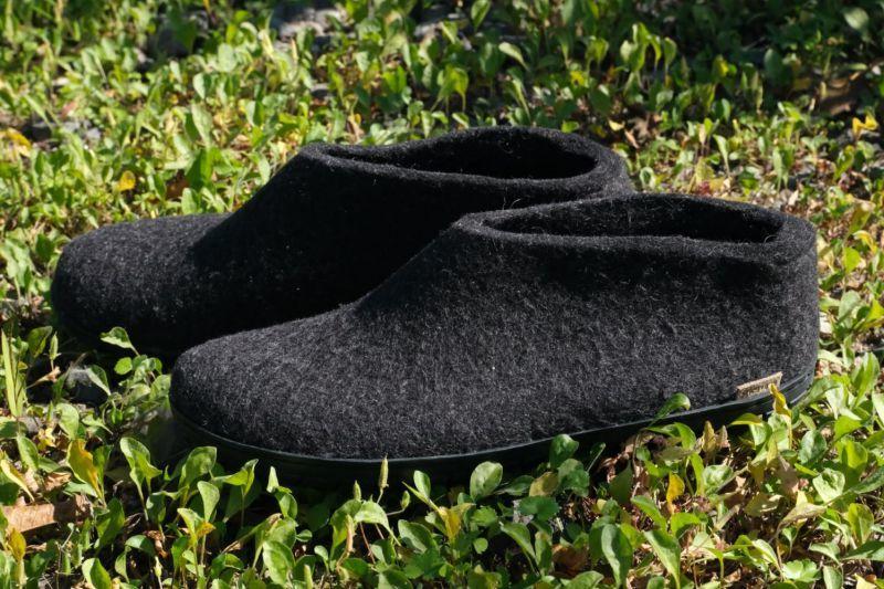 画像1: 北欧デザイン/フエルト×ラバーソール/靴/極厚ウール100%フエルト/glerups/グリオップス/ブラック (1)
