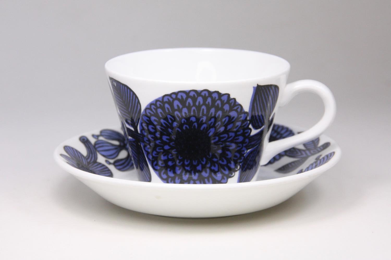 画像1: 北欧ビンテージ/ Gustavsberg/グスタフスベリ/Bla Aster/ブルーアスター/コーヒーカップ&ソーサー (1)