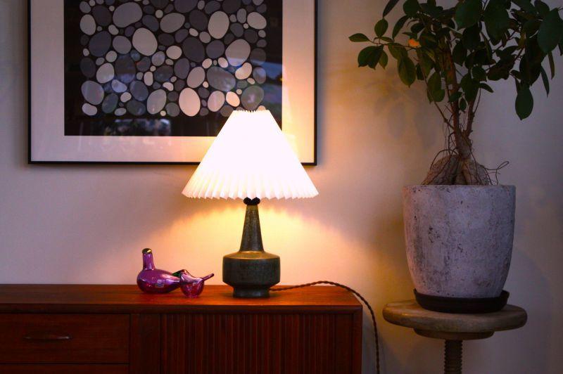 画像1: ビンテージ北欧照明/PALSHUS/パルシャス/陶器/ビンテージテーブルライト/ジャバラシェード/No.2 (1)