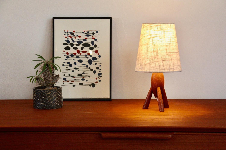 画像1: ヴィンテージ北欧照明/テーブルライト/チーク/3本脚 (1)