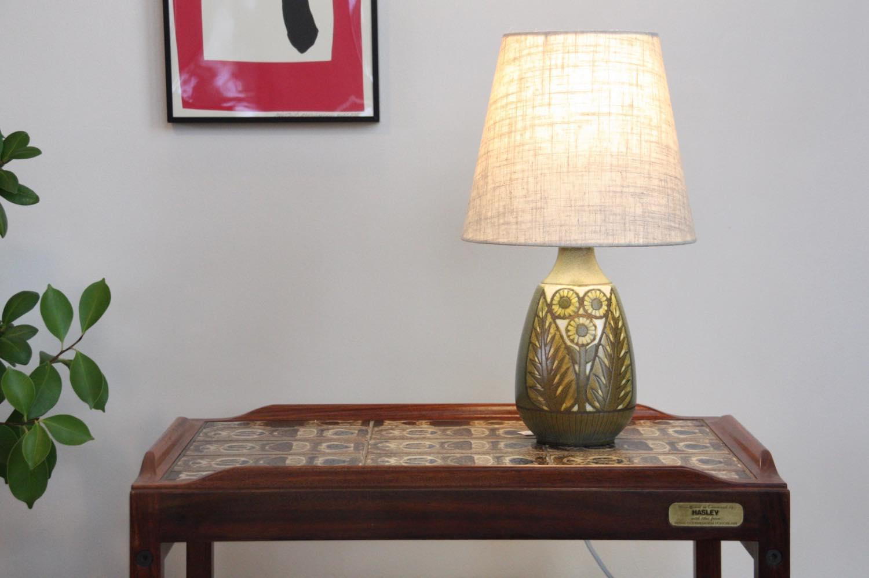 画像1: ビンテージ北欧照明/Falkenberg/テーブルライト/陶製 (1)