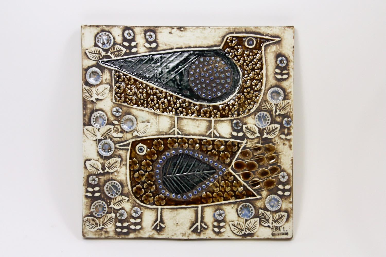 画像1: 北欧雑貨/Lisa Larson /リサ・ラーソン/ アンティーク/UNIK Fagler/小鳥陶板/No.2 (1)