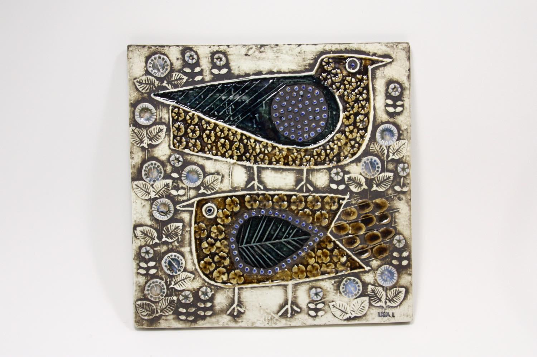 画像1: 北欧雑貨/Lisa Larson /リサ・ラーソン/ アンティーク/UNIK Fagler/小鳥陶板/No.1 (1)