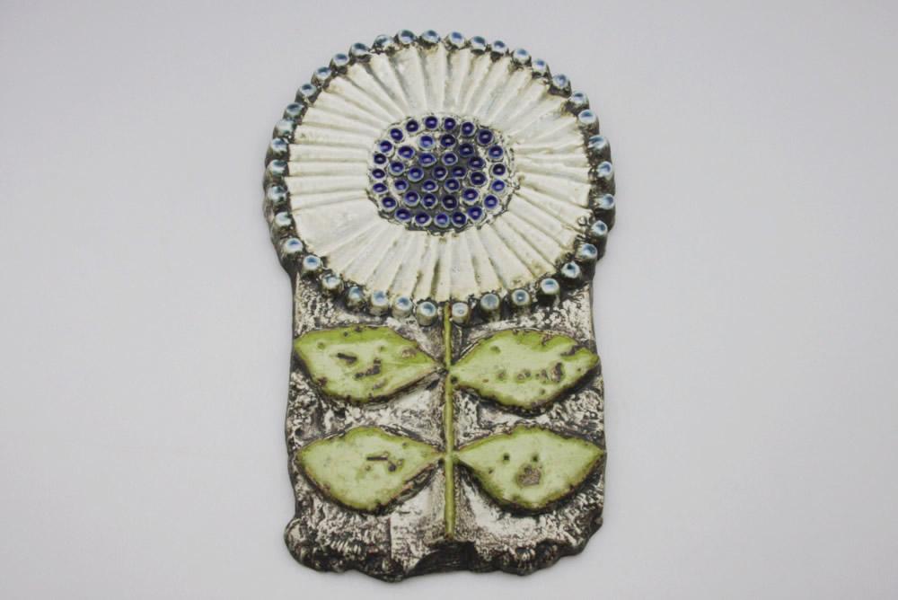 画像1: Lisa Larson リサ・ラーソン アンティーク Vaggplattor 白い花の壁掛け (1)