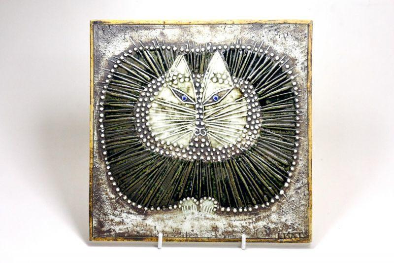 画像1: 北欧ビンテージ雑貨/Lisa Larson/リサ・ラーソン/アンティーク/UNIK/Katt/丸ネコ陶板/レアカラー/No.2 (1)