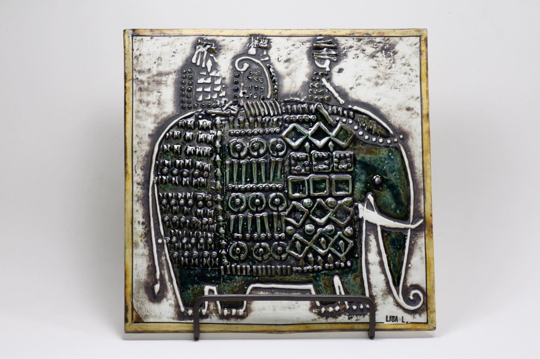 画像1: 北欧ビンテージ雑貨/Lisa Larson/リサ・ラーソン/UNIK Elefant/ゾウ陶板 (1)