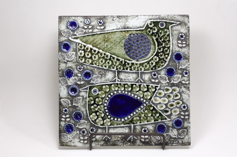 画像1: 北欧ビンテージ雑貨/Lisa Larson /リサ・ラーソン/UNIK Fagler/小鳥陶板/No.2 (1)