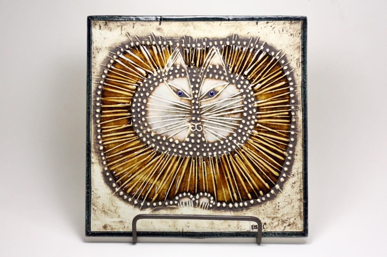 画像1: 北欧ビンテージ雑貨/Lisa Larson/リサ・ラーソン/アンティーク/UNIK Katt/丸ネコ陶板  (1)