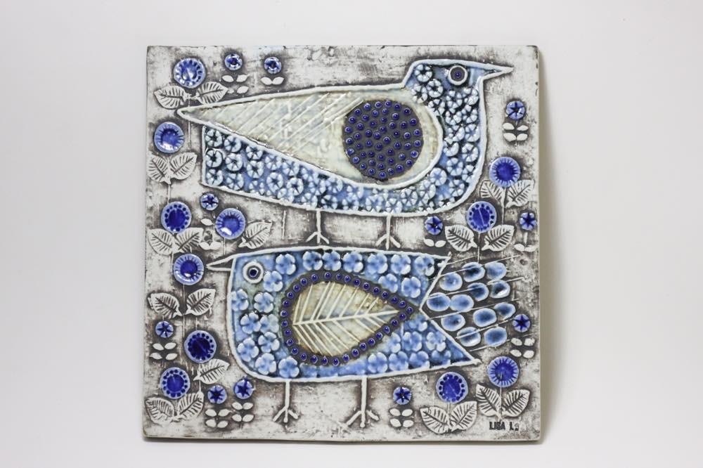 画像1: ビンテージ北欧雑貨/Lisa Larson/リサ・ラーソン/アンティーク/UNIK Fagler/小鳥陶板/ブルー (1)