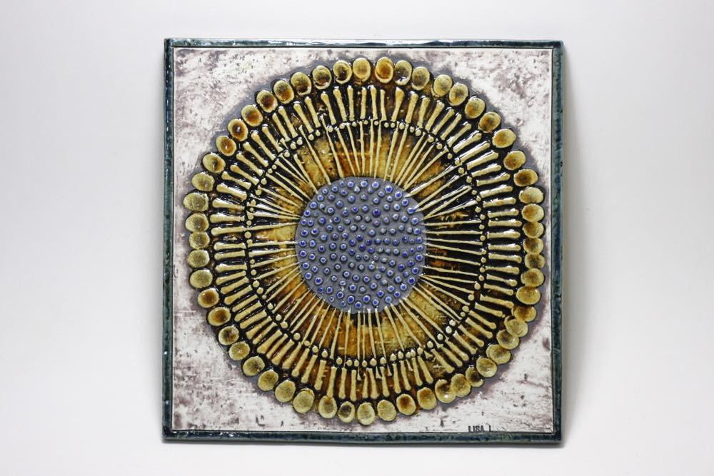 画像1: 北欧雑貨/Lisa Larson /リサ・ラーソン アンティーク/UNIK Solros ひまわり陶板 (1)