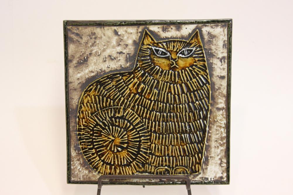 画像1: 北欧雑貨/Lisa Larson リサ・ラーソン アンティーク UNIK CAT ネコ陶板  (1)
