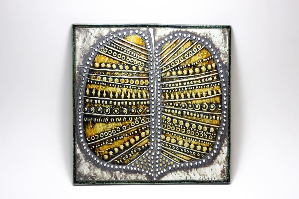 画像1: 北欧雑貨/Lisa Larson リサ・ラーソン アンティーク UNIK リーフ陶板 (1)
