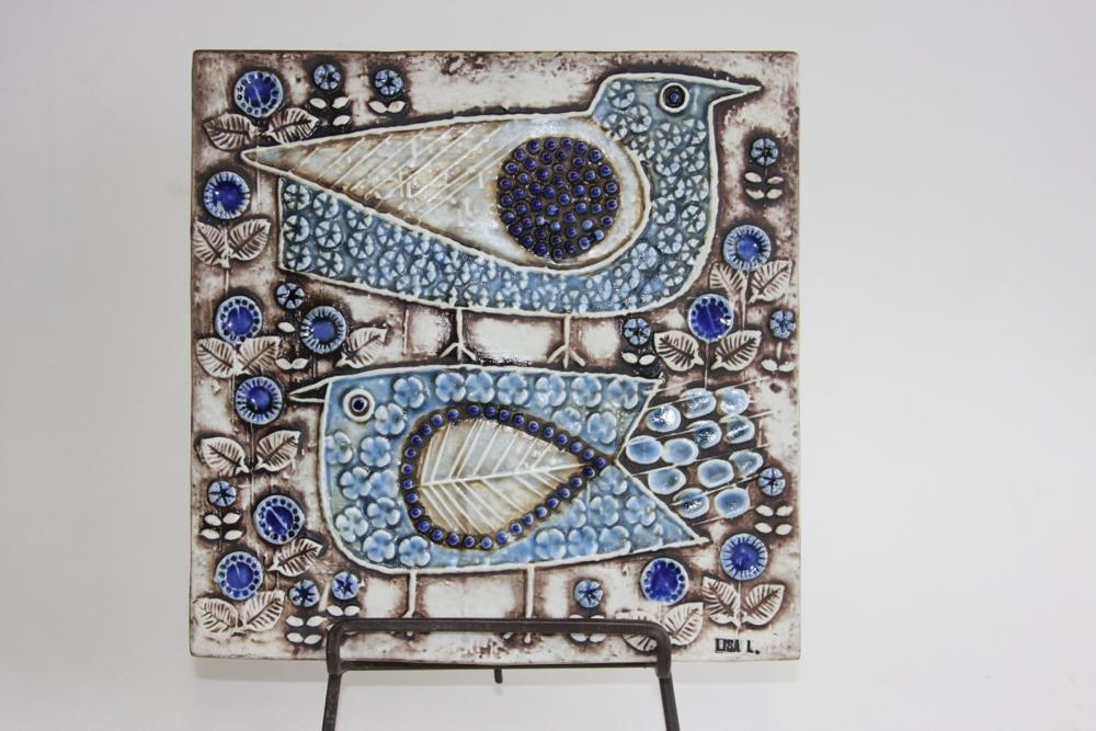 画像1: 北欧雑貨/Lisa Larson リサ・ラーソン アンティーク UNIK Fagler 小鳥陶板 ライトブルートーン (1)