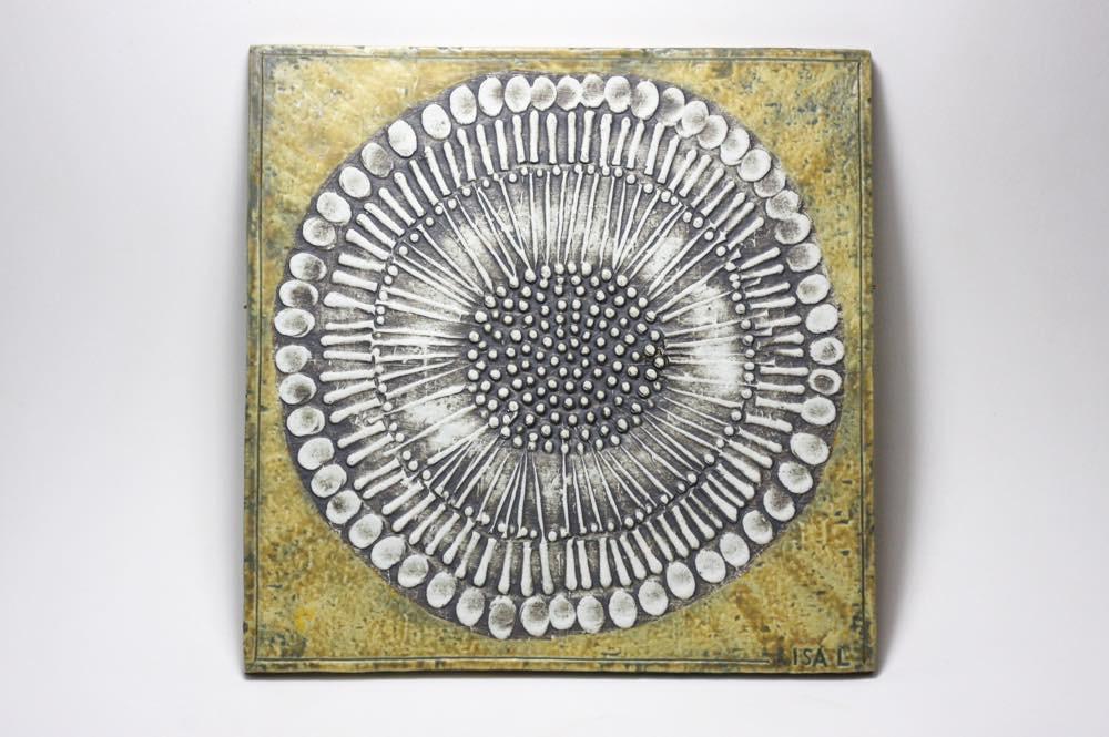 画像1: 北欧雑貨/Lisa Larson リサ・ラーソン アンティーク UNIK Solros レアカラー ひまわり陶板  (1)