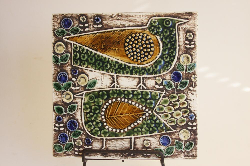 画像1: 北欧雑貨/Lisa Larson リサ・ラーソン アンティーク UNIK Fagler 小鳥陶板 グリーン&マスタード (1)