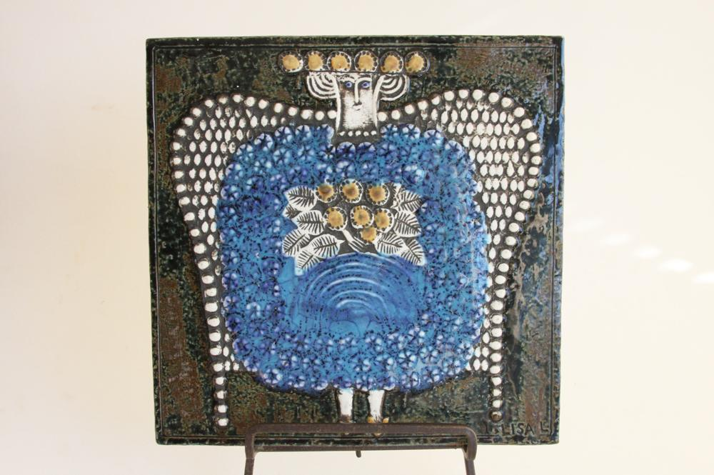 画像1: 北欧雑貨/Lisa Larson リサ・ラーソン アンティーク UNIK Dam陶板 (1)