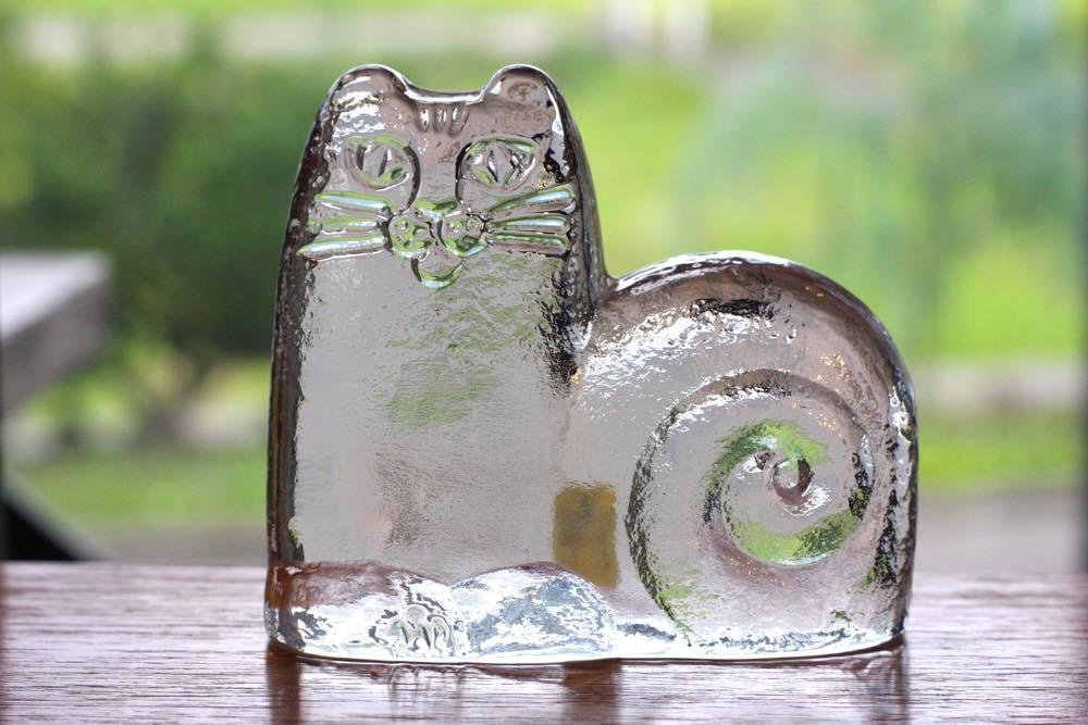 画像1: スウェーデン/Royal Krona/ガラスのネコ/リサ・ラーソン/ビンテージ (1)