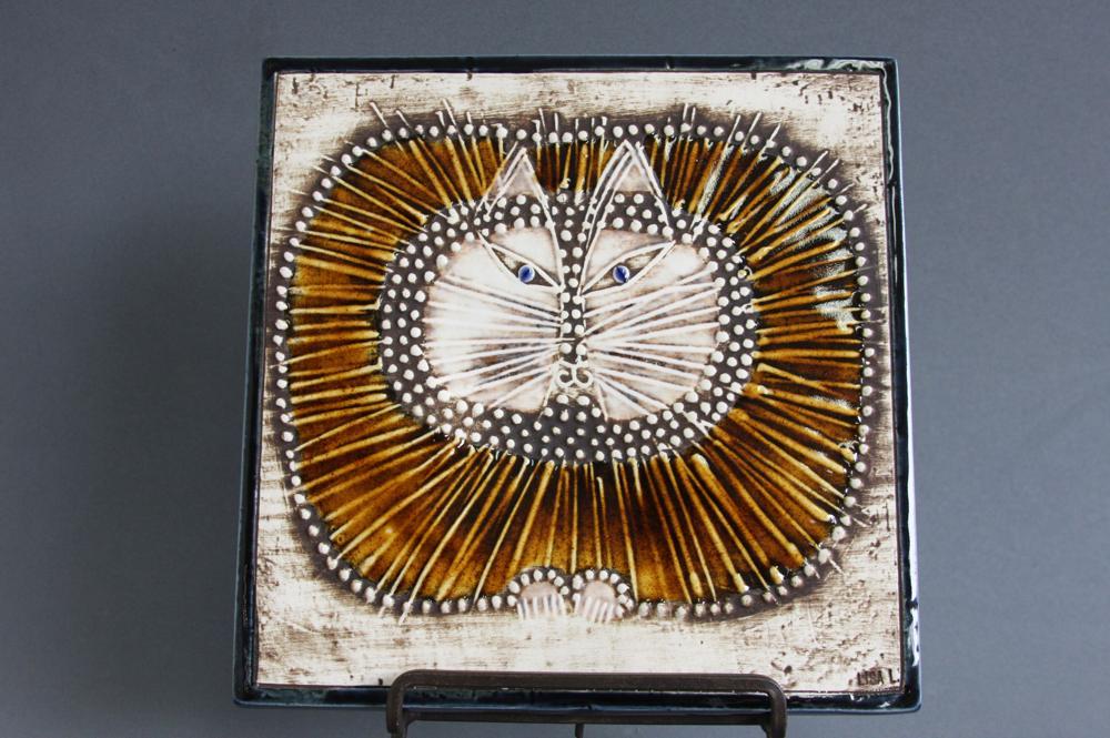 画像1: 北欧雑貨/Lisa Larson リサ・ラーソン アンティーク UNIK CAT 丸ネコ陶板 少々難あり (1)