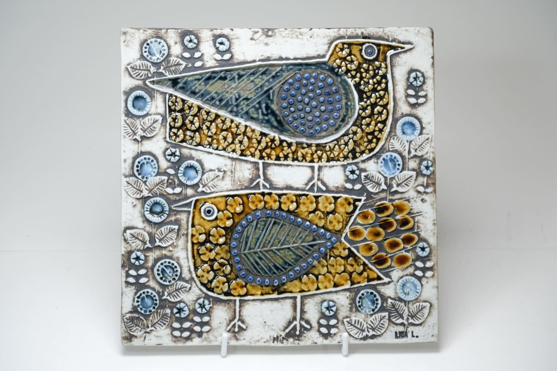 画像1: 北欧ビンテージ雑貨/Lisa Larson /リサ・ラーソン/UNIK Fagler/小鳥陶板/No.1 (1)