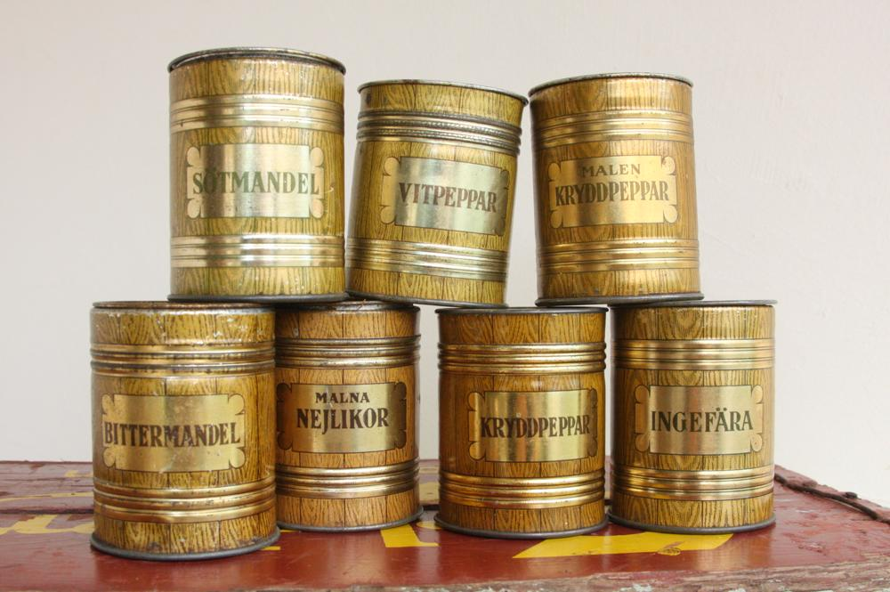 画像1: スウェーデン ビンテージ スパイスキャニスター缶 (1)