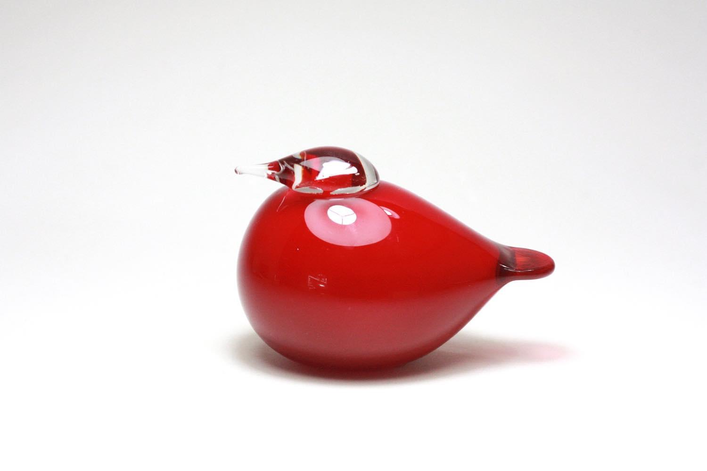 画像1: 北欧アートガラス/ビンテージガラス/Oiva Toikka/オイバ・トイッカ/Nuutajarvi/ヌータヤルヴィ/Birds/バード/Puffball/パフボール/クランベリー/No.2 (1)