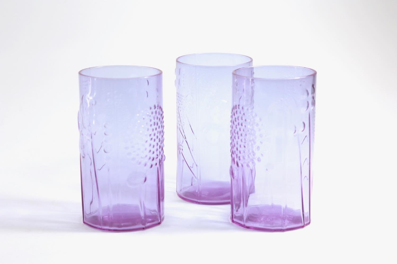 画像1: 北欧ビンテージガラス/オイバトイッカ/ヌータヤルヴィ/フローラ/グラス/タンブラー/高さ12cm/アメジスト (1)