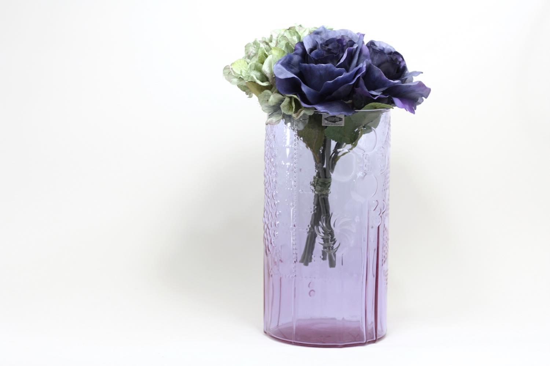 画像1: 北欧ビンテージガラス/オイバトイッカ/フローラ/ベース/花瓶/高さ21cm/アメジスト (1)