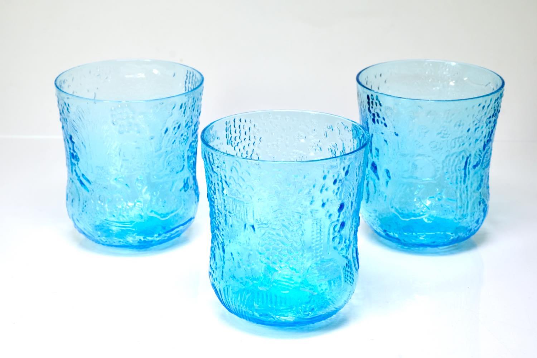 画像1: 北欧ビンテージガラス/Oiva Toikka/オイバ・トイッカ/ファウナ/NUUTAJARVI/ヌータヤルヴィ/ブルー/グラス (1)