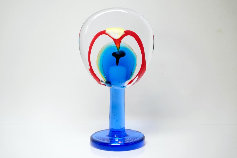画像1: 北欧アートガラス/ビンテージガラス/アートピース/Oiva Toikka/オイバトイッカ/Lollipop/ロリポップ/2004/200個限定/ブルー (1)