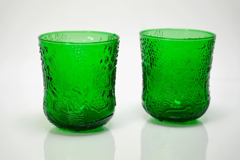画像1: 北欧ビンテージガラス/Oiva Toikka/オイバ・トイッカ/ファウナ/NUUTAJARVI/ヌータヤルヴィ/グリーン/グラス (1)